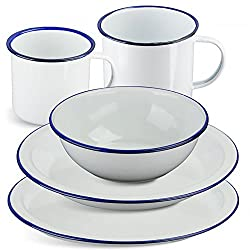 Classic Enamel Crockery With Reinforced Steel Rims. Very Strong , Lightwight & Easy To Clean. Traditonal Hard Wearing Enamel. Attractive Vintage Design. All Parts Available To Purchase Or Set Includes 1 x Plate , 1 x Bowl & 1 x Mug