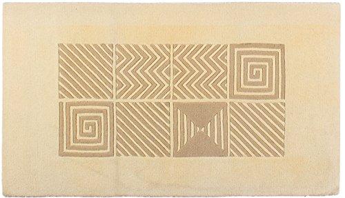 Lifetex.eu Designteppich Felder ca. 80 x 150 cm Beige handtuft Schurwolle Modern hochwertiger Teppich
