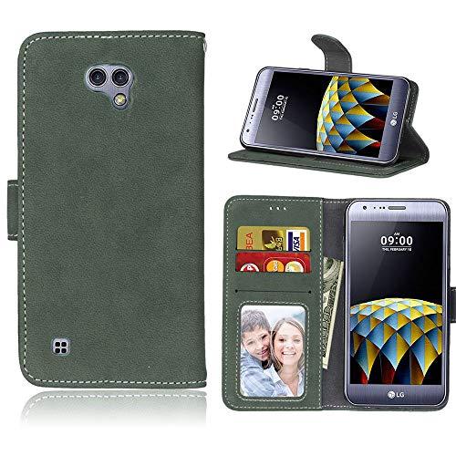 Sangrl Lederhülle Schutzhülle Für LG X Cam K580 (5.2 Zoll), PU-Leder Klassisches Design Wallet Handyhülle, Mit Halterungsfunktion Kartenfächer Flip Hülle Grün