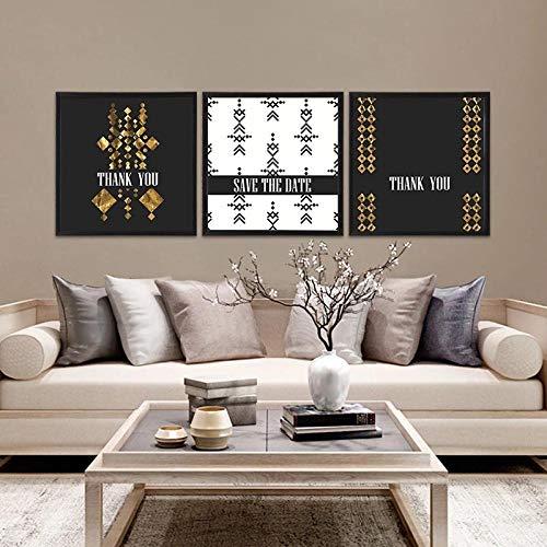 GZSBYJSWZ Pintura de Lienzo nórdica Blanca Dorada Negra para decoración del hogar Arte de Pared geometría Abstracta impresión de Letras Imagen para Sala de Estar póster de Fondo sin Marco-A_40x40cmX3