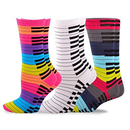 TeeHee Music Cotton Crew Socks for Women and Men 3-Pack (10-13, Piano Key)