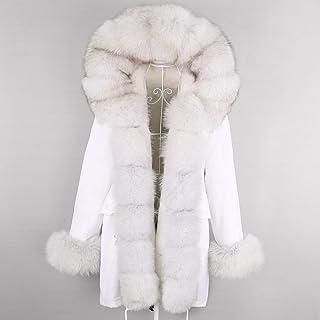 JNXFUZMG 2020 Winter Women Chaqueta Largo Negro Abrigo Blanco Natural Collar Grande Casual Parkas Parkas Outerwear Paño De...