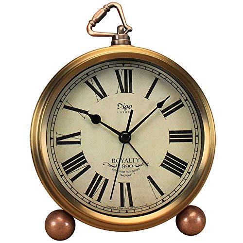 Attoe Gold Uhr, 5,2 Zoll Klassische Retro Tischuhr Europäischen Stil Vintage Stille Schreibtisch Wecker Nicht Ticken Quarzwerk Batteriebetrieben, HD Glaslinse, Leicht Zu Lesen (Rom)