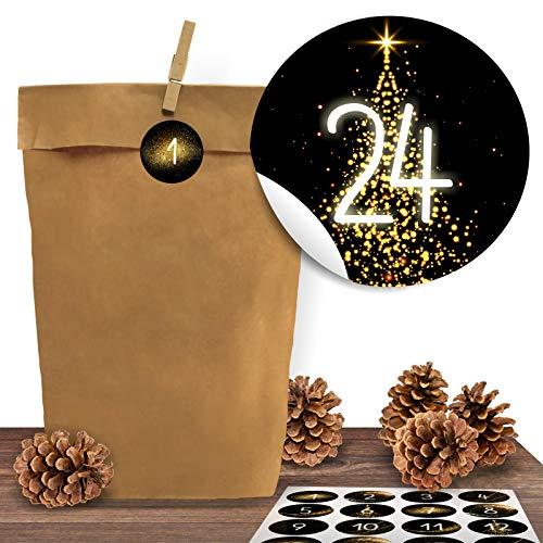 24 Adventskalender Kraftpapiertüten mit 24 Zahlen-Aufklebern Golden Christmas zum Verschließen für den Adventskalender zum Basteln und Befüllen