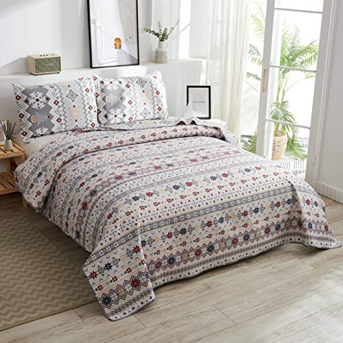 JARSON Lightweight Christmas Bedspread Coverlet Set Full/Queen Size,3Pcs Christmas Tree Snowflake Quilts Stripe Bedding Pillow Shams New Year's Decoration