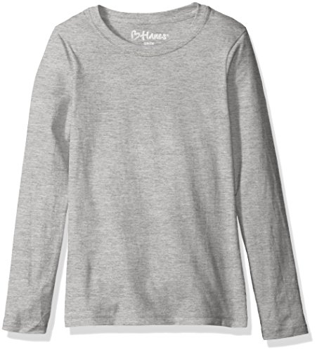 Hanes Girls' Big ComfortSoft Long Sleeve Tee, Light Steel, S