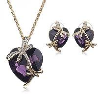 Articolo Tipo: Set di gioielli Descrizione aggiuntiva dell' articolo: orecchini e collana blu royal Materiale: cristallo Materiale di pietra: Cristallo CZ/perla Forma \ motivo: cuore