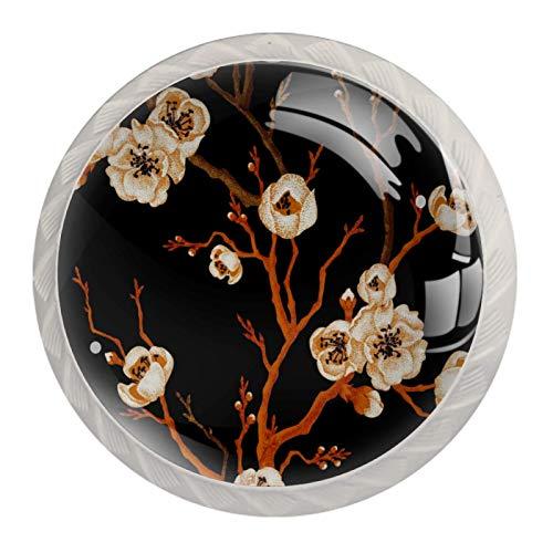 Rama de sakura sobre fondo negro 4 Piezas Perilla del Cajón del Gabinete,Mango de un Solo Orificio/Tirador de Puerta de Armario,Decoración del Hogar de Gabinete y Decoración del Hogar