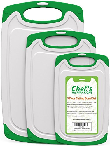 Chef's INSPIRATIONS 3 Piece Plastic Cutting Board Set For Kitchen. Best For Chopping & Slicing Fruit, Vegetables & Meat. Non Slip Feet With Juice Groove. Made With Durable Non Porous Poly Plastic.