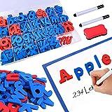Kit de Letras magnéticas, 208 Piezas con Tablero magnético de Doble Cara y números - Juego de Letras del Alfabeto en mayúsculas y minúsculas con Signo de Funcionamiento