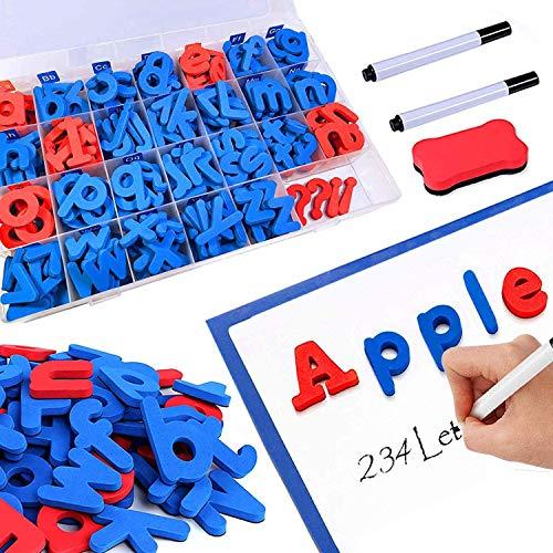 Magnetische Buchstaben-Set, 208 Teile mit doppelseitiger magnetischer Pinnwand und Zahlen, Buchstaben des Alphabets in Groß- und Kleinbuchstaben mit Betriebszeichen