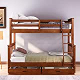 Merax Twin Over Full Bunk Bed with Two Storage Drawers, Safety Guardrail and Ladder, Convertible to 2 Separated Frames, Walnut