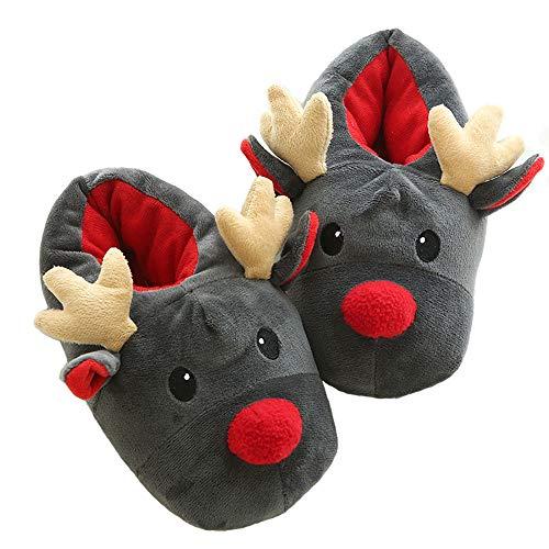 Popuid Fuzzy Womens Elk Reindeer Fleece Slippers Soft Christmas Reindeer Bedroom Non-Slip Slipper (Women US 7-8, Dark Grey)