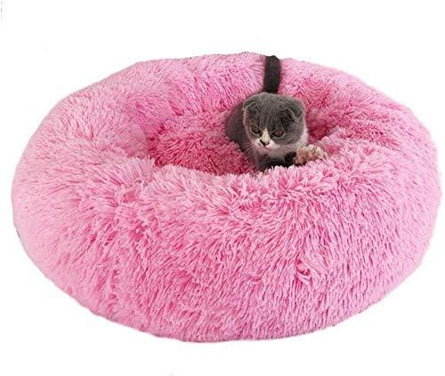 Cómodo cómodo caseta de perro caliente cojín del sofá perro redondo suave cama del animal doméstico del perro peludo sofá cama desmontable rosquilla gato abrazo nido con antideslizante fondo impermeab