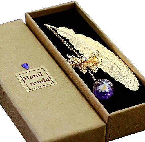 Segnalibro in metallo con piuma 3D farfalla e perline di vetro Eternal Dry Flower Pendente. Regalo ideale per lettore, donna e bambini (piuma d'oro viola fiore bianco).