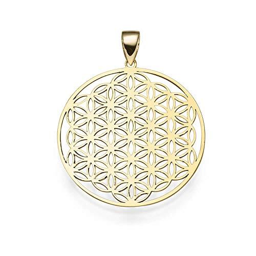 Anhänger Lebensblume mit Ornament 24,5mm 585 Gold Gelbgold rund Halsschmuck