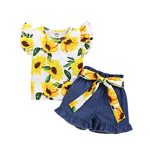jerferr Kleinkind Baby Mädchen Rüsche Fliegen Ärmel Sonnenblume Drucken Tops + Denim Kurze Hose Outfits
