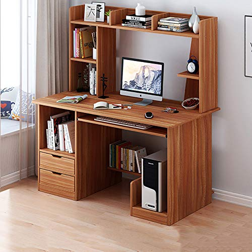 TOPYL 47 Inche Sturdy Office Desk Writing Desk for Home and Office,Computer Desk with Hutch and Bookshelf,Wood Desk Pc Laptop Workstation