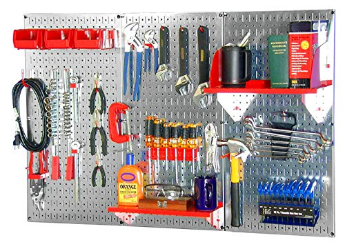 Wall Control 30WRK400GVR 4-Feet Metal Pegboard Standard Tool Storage Kit with Galvanized Toolboard...