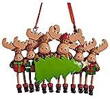 N% Decoración de Navidad 2021 colgante de alce personalizado para árbol de Navidad, colgante de familia de 3, 4, 5 y 6 nombres personalizados, decoración navideña, adornos de ganchillo (D)