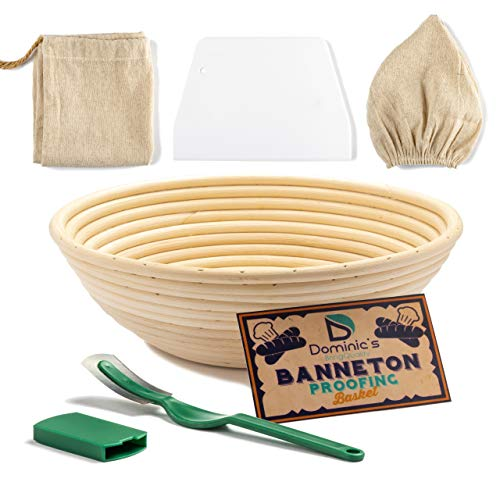9 Inch Bread Banneton Proofing Basket SET with Bread Lame, Dough Scraper, Linen Liner Cloth, Blank Fabric Bag. Make Delicious Natural Homemade Bread (9 Inch)