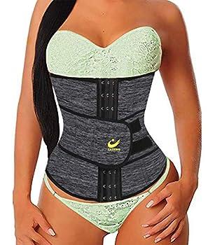 LAZAWG Waist Trainer for Women Neoprene Waist Cincher Tummy Control Girdle Sweat Waist Trimmer Lose Belly Slimmer Gray