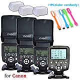 Yongnuo 3PCS YN-560IV Manual Flash Speedlite Light with YN560 TX LCD Wireless Flash Trigger Remote Controller Compatible for Canon DLSR Cameras& 3pcs Diffuser & USB LED