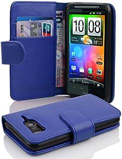 Fodral kompatibelt med HTC Desire HD i KUNGS BLÅ - Skyddsfodral av strukturerat syntetiskt Läder med Stativfunktion och Ko...