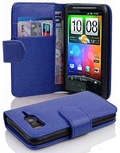 Cadorabo Hülle für HTC Desire HD in KÖNIGS BLAU – Handyhülle aus Strukturiertem Kunstleder mit Standfunktion & Kartenfach – Hülle Cover Schutzhülle Etui Tasche Book Klapp Style
