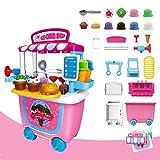 GizmoVine Eiswagen Pretend Toys 31pcs Pretend Playset Toys für 2 Jahre altes Mädchen Kinder Kleinkinder mit Tragetasche