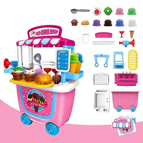 GizmoVine Jouet de Crème Glacée d'enfants Jeu de Simulation Alimentaire Jouets de Rôle Playset pour Enfants 3-5 Ans (Glace)
