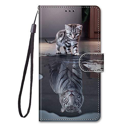 Nodigo für Samsung Galaxy A5 2017 Leder Hülle Magnetisch Kickstand mit Kartenfach 360 Grad Tier Muster Motiv Lustig Design Silikon Hüllen Handyhülle Tasche Case Mädchen Damen - Katze + Tiger