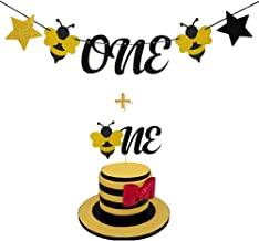 Palksky Bumble Bee Glitter One Banner & Bee Cake Topper for 1st Birthday Party Baby Shower Supplies Decorations