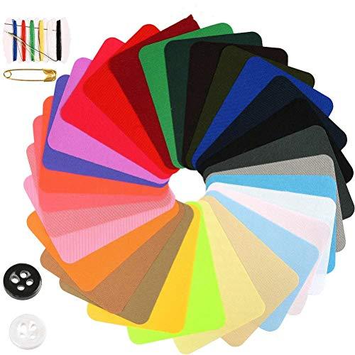 WOWOSS 29Pcs Parches de Mezclilla de Color para Reparación de Jean y Bricolaje, Parches Ropa Termoadhesivos Multicolor de 9.5 x 12.5 cm