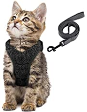 Simpeak Escape Proof Cat Harness and Lead Set, Adjustable Soft Cat Walking Jackets with Retractable Cat Leash for Pet Puppy Kitten Indoor Outdoor Walking, Color Pink, Blue, Black, Green, Orange, Camouflage Green, Gray