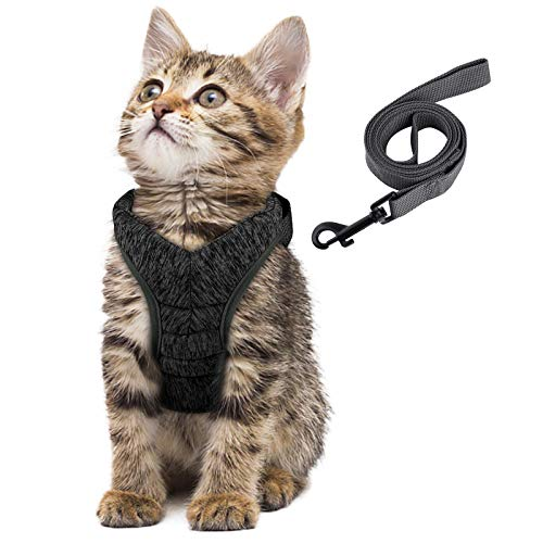 Simpeak Katzengeschirr, Katzengeschirr mit Leine Ausbruchsicher, Geschirr für Katzen Welpengeschirr Weich, Mittel, Schwarz