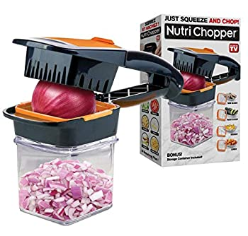 Nutrichopper with Fresh-keeping container - Chops Slices Cubes Wedges – Multi-purpose Food Chopper with Stainless Steel Blades As Seen On TV
