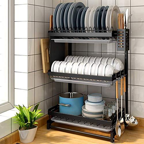 HUOQILIN Hogar Almacenamiento de Cocina Estante, Estante de la Cocina, Negro 201 Acero Inoxidable Mesa de Drenaje Rack Estante for Platos, 2 Capas / 3 Capas, 3 Capas XUAGMT (Size : 3 Layers)