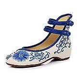 Girasol Nuevas Mujeres Bordado Zapatos Alpargatas Lienzo Pisos de Moda Transpirable y cómodos Zapatos de Baile a pie (Azul,40 EU)