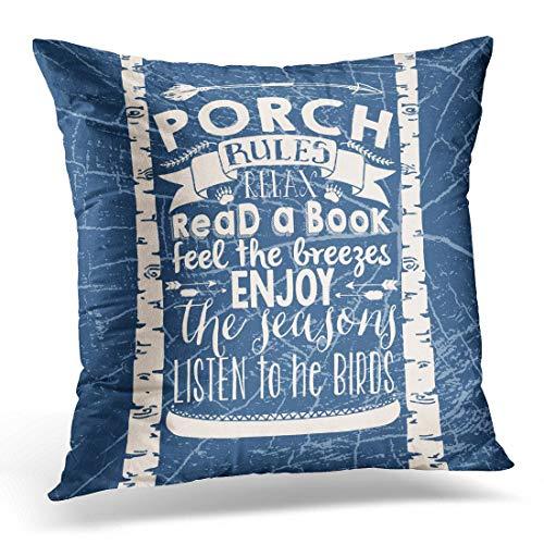 Jhonangel Throw Pillow Cover Porche Rules Tipografía rústica Funda de Almohada Decorativa Decoración del hogar Funda de Almohada Cuadrada 18x18 Pulgadas
