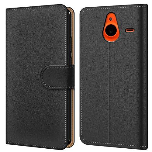 Conie BW20067 Basic Wallet Kompatibel mit Microsoft Lumia 640 XL, Booklet PU Leder Hülle Tasche mit Kartenfächer & Aufstellfunktion für Lumia 640 XL Hülle Schwarz