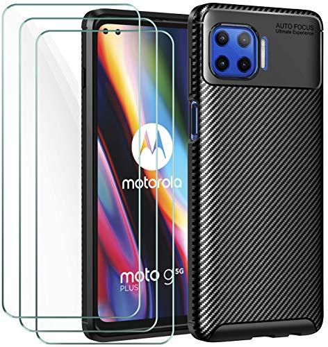 ivoler Hülle mit Panzerglas für Motorola Moto G 5G Plus [1 Handyhülle + 3 Schutzfolie], Schwarz Stylisch Karbon Design Anti-Kratzer Stoßfest Schutzhülle Cover Weiche TPU Silikon Case
