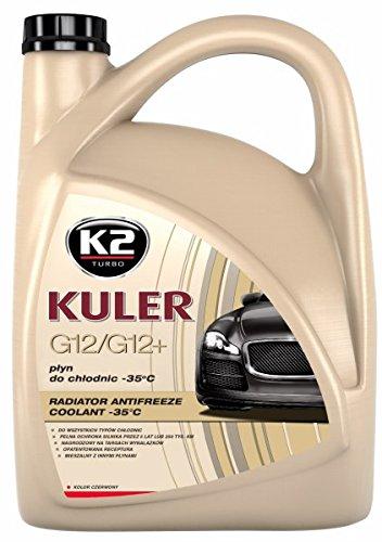 K2 Kühlerfrostschutz Fertiggemisch, G12 / G12 Plus Long Life, Farbe rot, bis -35°C, Kühlmittel, Kühlflüssigkeit, Frostschutzmittel, für alle Automarken geeignet 5L
