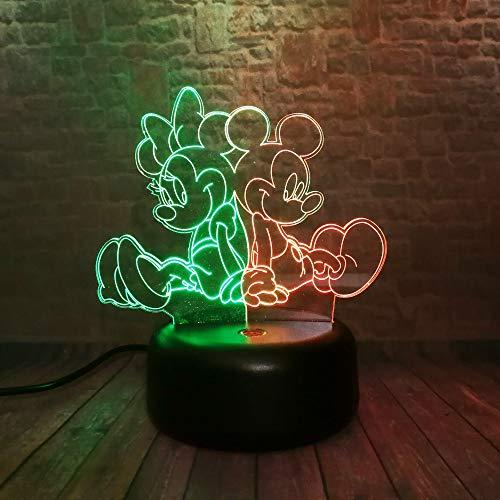 Cartoon kleine muis illusie nachtlampje 3D LED tafel bureaulampen, 7 kleuren USB opladen bedlampje slaapkamerdecoratie voor kinderen Kerstmis verjaardagscadeau