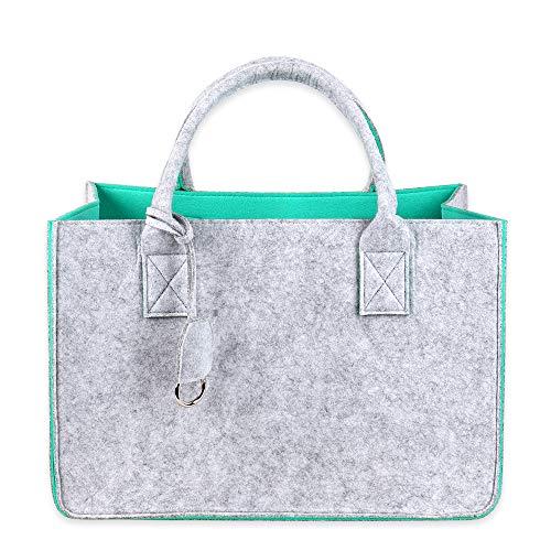 Schramm® Filztasche in 4 Farben wählbar 40x27x27cm Kaminholztasche Einkaufstasche Shopping Bag Aufbewahrungstasche Filz Tasche Filztaschen, Farbe:mintgrün