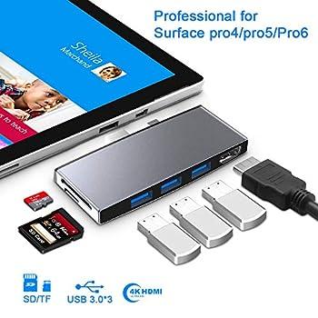 【Upgraded Version】 Microsoft Surface Pro 6/Pro 5/Pro 4 Hub Docking Station with 4K HDMI Port,3 Port USB 3.0 5Gps ,SD/TF Micro SD  Slot Momery Card Reader Converter Combo Adaptor Surface Dock Hub