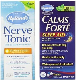 Hyland's Calms Forte Sleep Aid & Nerve Tonic Stress Relief Medicine Bundle, 300 Calms Forte Tablets & 500 Nerve Tonic Tablets
