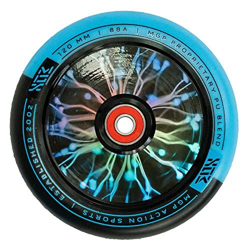 MGP Madd Gear MGX - Patinete de acrobacias (120 mm, poliuretano, con núcleo hueco), color negro y azul