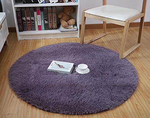 QUANHAO Plüsch Teppich Super weicher Faux Flauschiger Samt Moderne Flauschige Innenteppiche,Lange Haare Fell Optik Gemütliches Bettvorleger Sofa Matte (lila, 140x140cm)