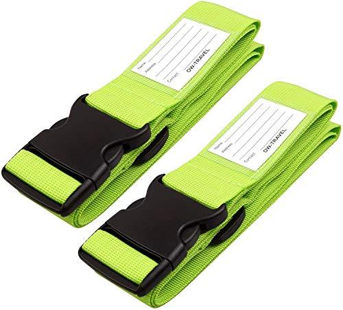 Correas para Equipaje, Cinturones de la Maleta Ajustables de Equipaje de Viaje Cinturones, Accesorios de Viaje Embalaje con Ranura para Etiquetas de identificación (2 - Verde)